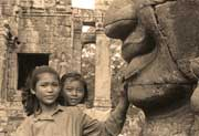 Two young girls in the Bayon upper terrace
