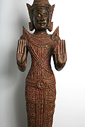 35. Adorned Buddha - Post Angkorian Style - Wood - Height:1m56, W:24Kg - USD2500 -