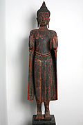 37. Standing Buddha - Post Angkorian Style - Wood - Height:1,40m, W:28Kg - USD2400 -