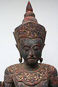 50.Adorned standing Buddha - Post Angkorian Style - Wood - H.  1,52m, 35Kg - USD2300-